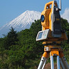 Topcon total station with Mt. Fuji.